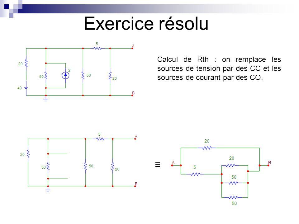Exercice résolu Equivalent de Thévenin du circuit :