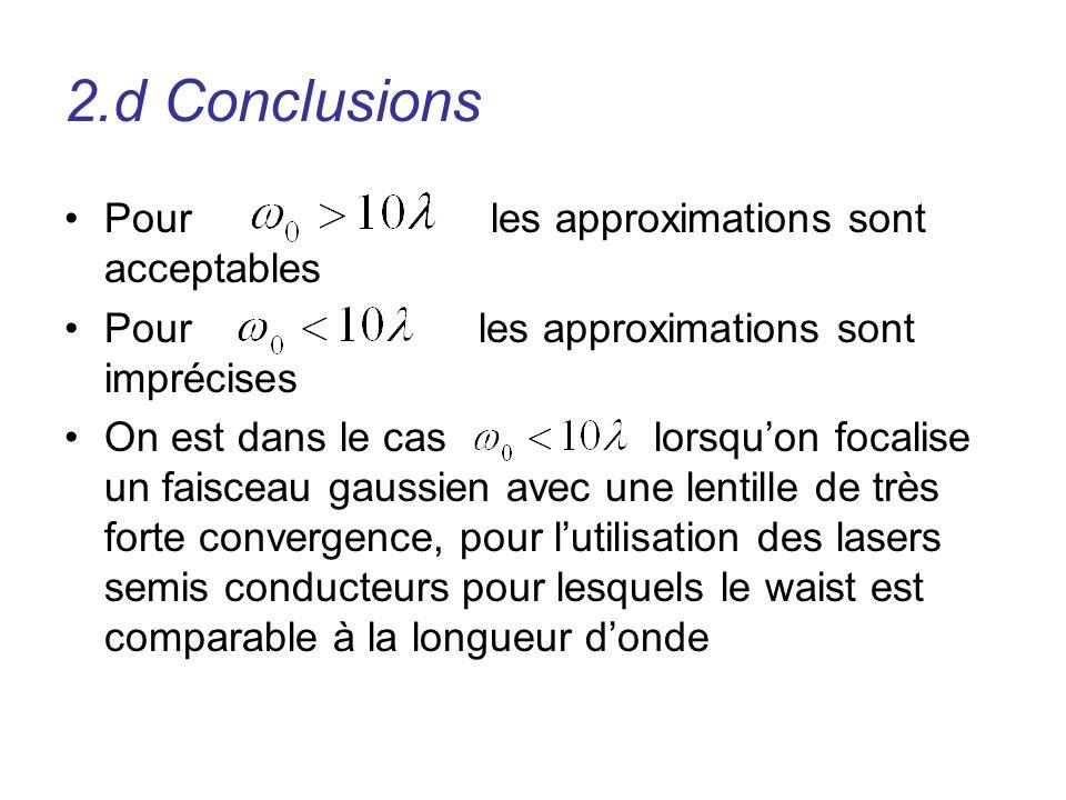 Pour les approximations sont acceptables Pour les approximations sont imprécises On est dans le cas lorsquon focalise un faisceau gaussien avec une le