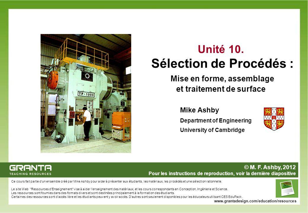 Ce cours fait partie d'un ensemble créé par Mike Ashby pour aider à présenter aux étudiants, les matériaux, les procédés et une sélection rationnelle.