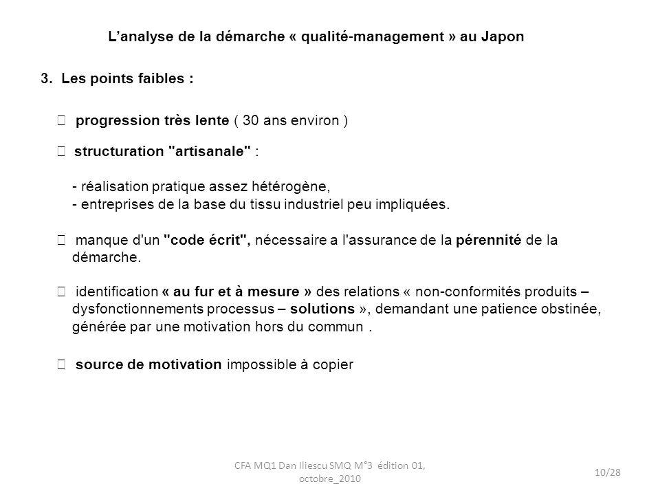 Lanalyse de la démarche « qualité-management » au Japon 3. Les points faibles : manque d'un