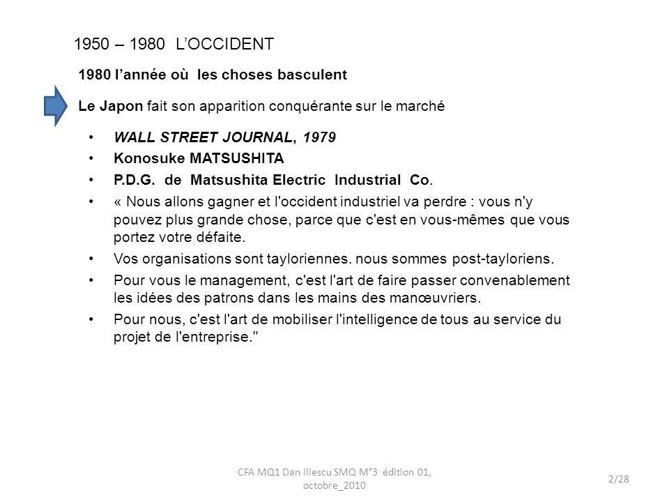 1950 – 1980 LOCCIDENT 1980 lannée où les choses basculent WALL STREET JOURNAL, 1979 Konosuke MATSUSHITA P.D.G. de Matsushita Electric Industrial Co. «