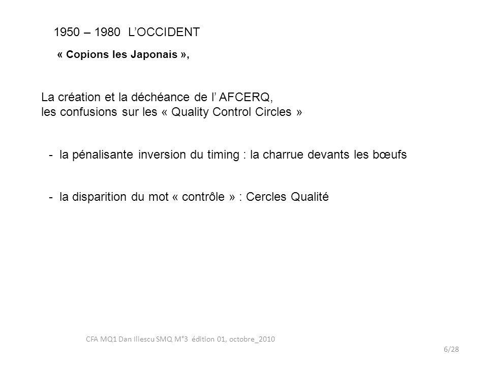 LA QUERELLE : «Amélioration-Assurance» QUALITE 17/28 CFA MQ1 Dan Iliescu SMQ M°3 édition 01, octobre_2010 2.