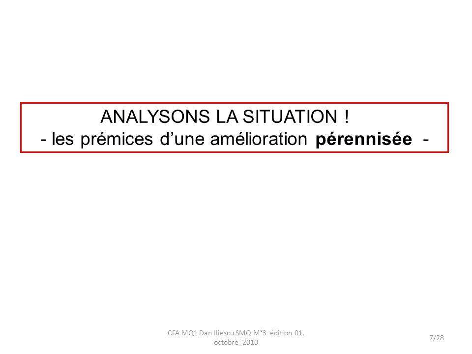 ANALYSONS LA SITUATION ! - les prémices dune amélioration pérennisée - 7/28 CFA MQ1 Dan Iliescu SMQ M°3 édition 01, octobre_2010