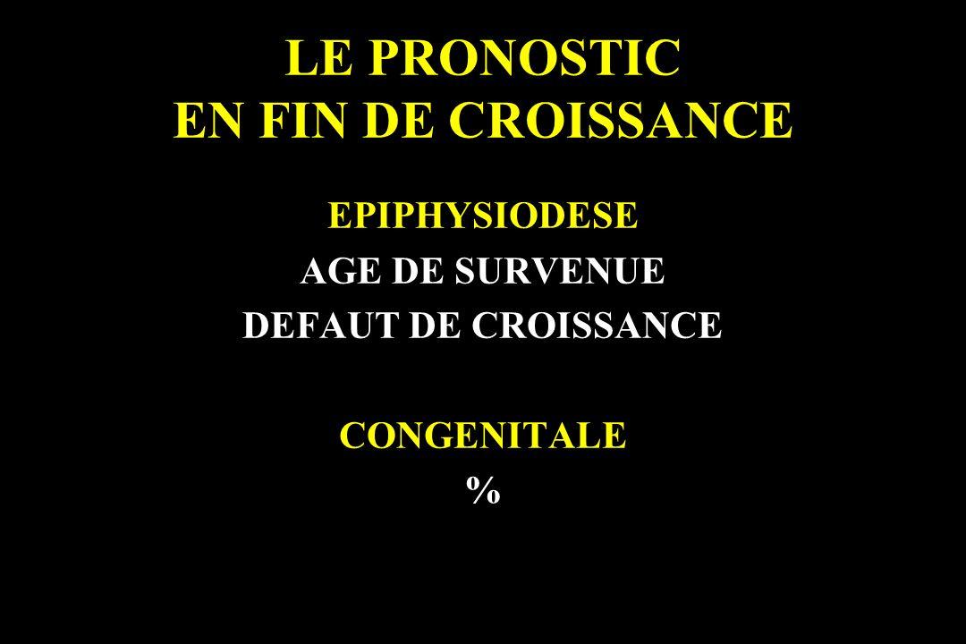LE PRONOSTIC EN FIN DE CROISSANCE EPIPHYSIODESE AGE DE SURVENUE DEFAUT DE CROISSANCE CONGENITALE %