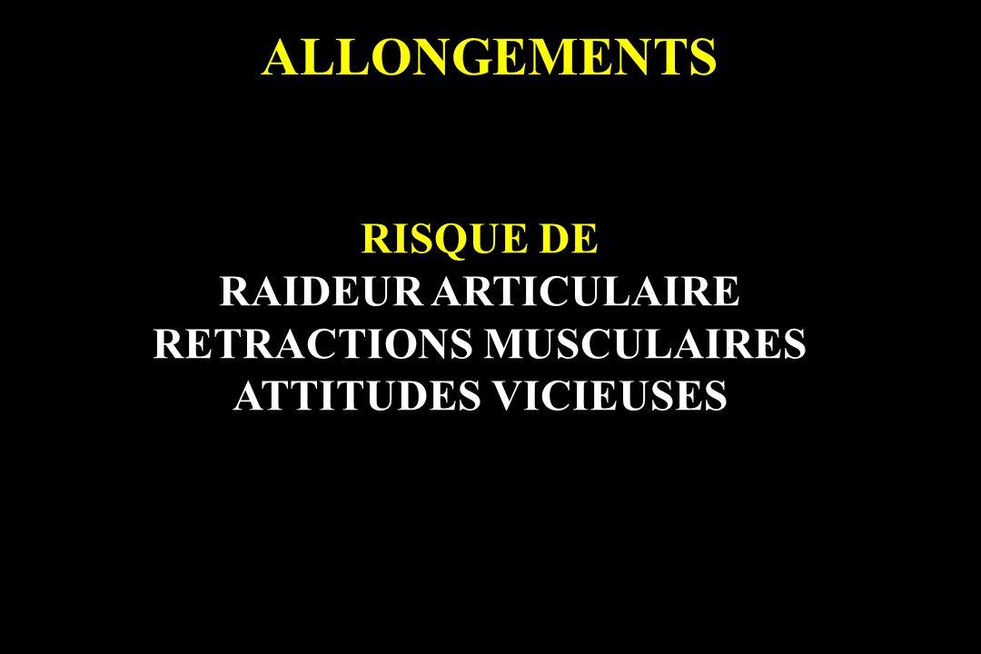 RISQUE DE RAIDEUR ARTICULAIRE RETRACTIONS MUSCULAIRES ATTITUDES VICIEUSES
