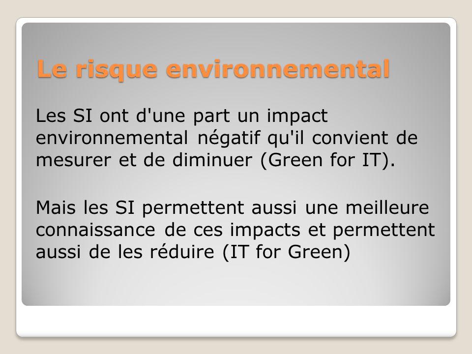Le risque environnemental Les SI ont d une part un impact environnemental négatif qu il convient de mesurer et de diminuer (Green for IT).