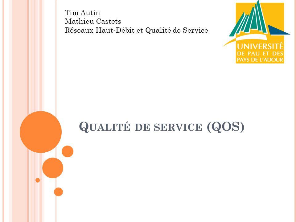 Q UALITÉ DE SERVICE (QOS) Tim Autin Mathieu Castets Réseaux Haut-Débit et Qualité de Service