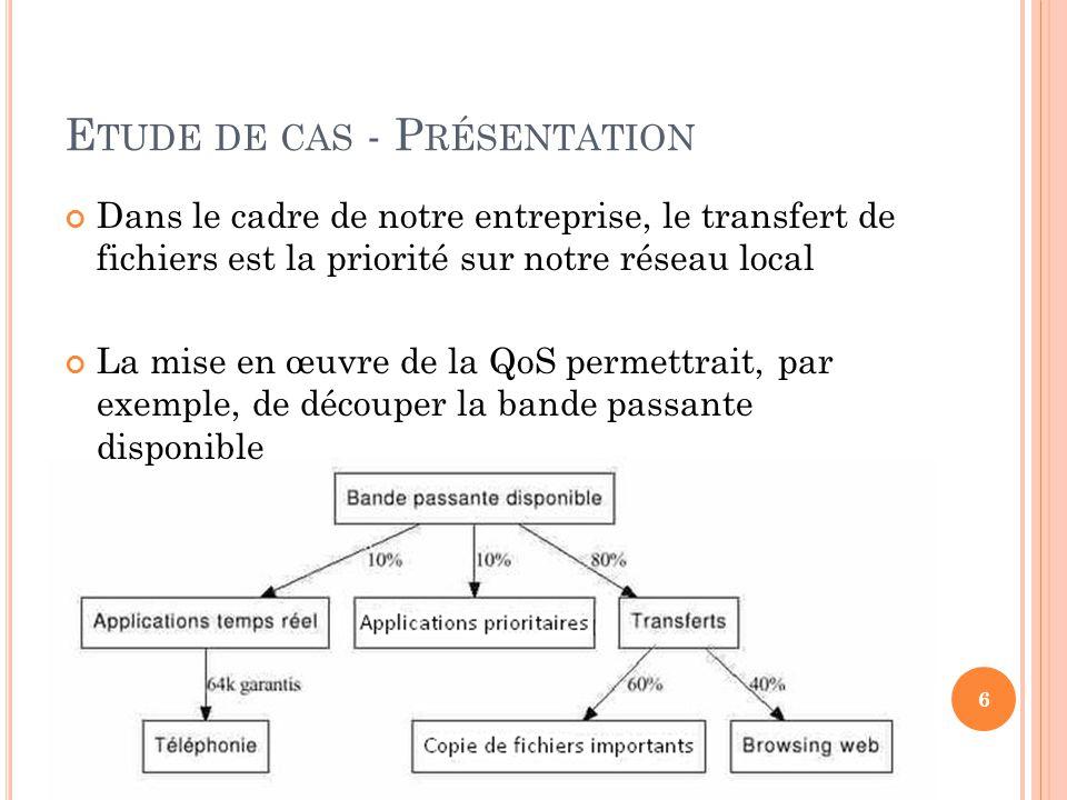 E TUDE DE CAS - P RÉSENTATION Dans le cadre de notre entreprise, le transfert de fichiers est la priorité sur notre réseau local La mise en œuvre de l