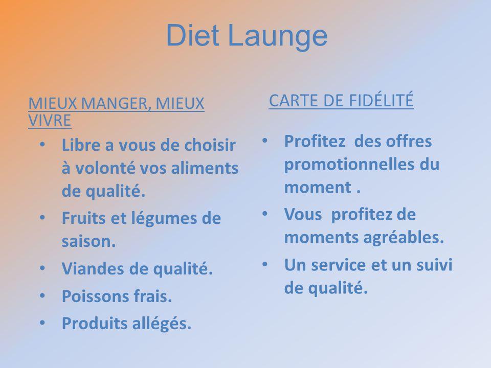 MIEUX MANGER, MIEUX VIVRE CARTE DE FIDÉLITÉ Libre a vous de choisir à volonté vos aliments de qualité. Fruits et légumes de saison. Viandes de qualité
