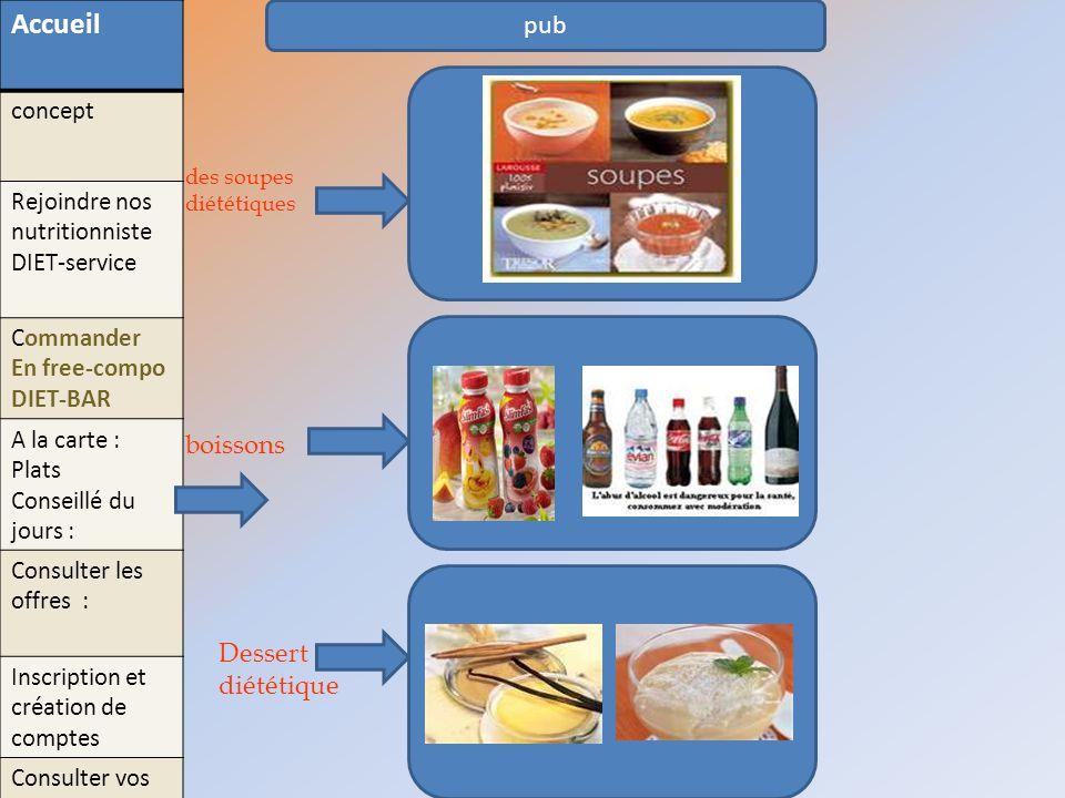 pub des soupes diététiques boissons Dessert diététique Accueil concept Rejoindre nos nutritionniste DIET-service Commander En free-compo DIET-BAR A la
