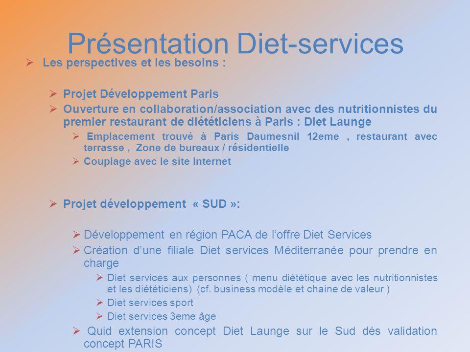Présentation Diet-services Les perspectives et les besoins : Projet Développement Paris Ouverture en collaboration/association avec des nutritionniste