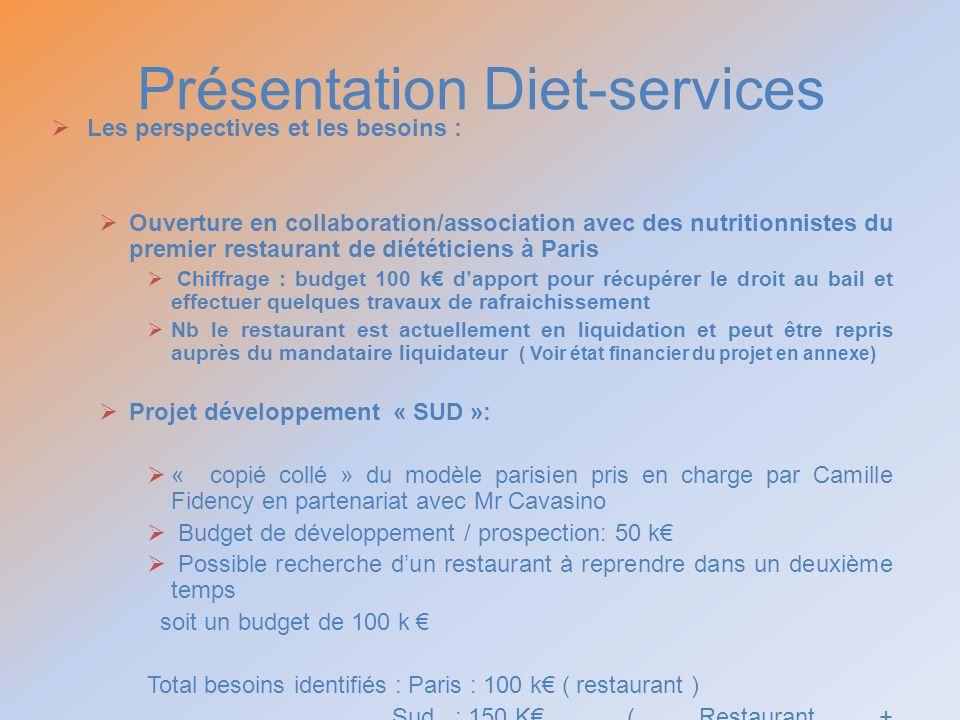 Présentation Diet-services Les perspectives et les besoins : Ouverture en collaboration/association avec des nutritionnistes du premier restaurant de