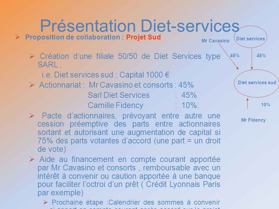Présentation Diet-services Proposition de collaboration : Projet Sud Création dune filiale 50/50 de Diet Services type SARL, i.e. Diet services sud ;