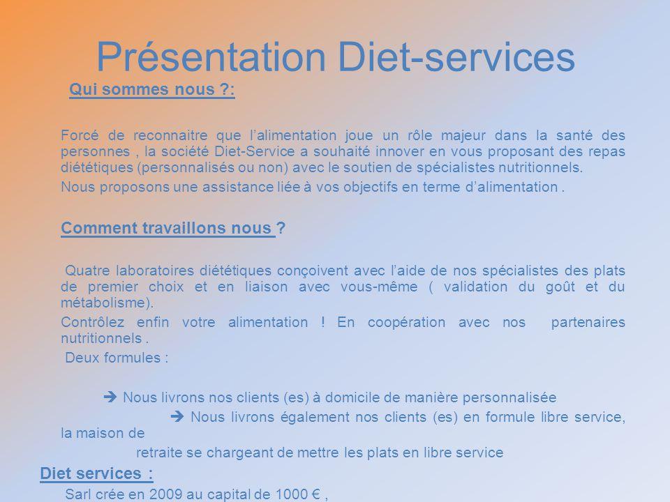 Présentation Diet-services Qui sommes nous ?: Forcé de reconnaitre que lalimentation joue un rôle majeur dans la santé des personnes, la société Diet-