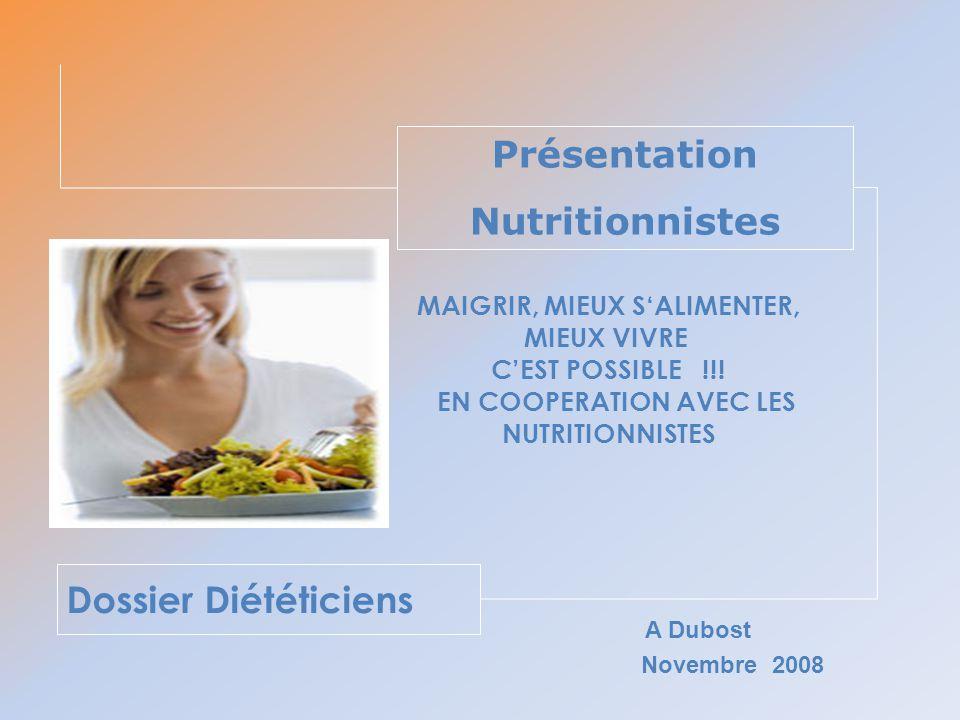 Dossier Diététiciens Présentation Nutritionnistes Novembre 2008 A Dubost MAIGRIR, MIEUX SALIMENTER, MIEUX VIVRE CEST POSSIBLE !!! EN COOPERATION AVEC