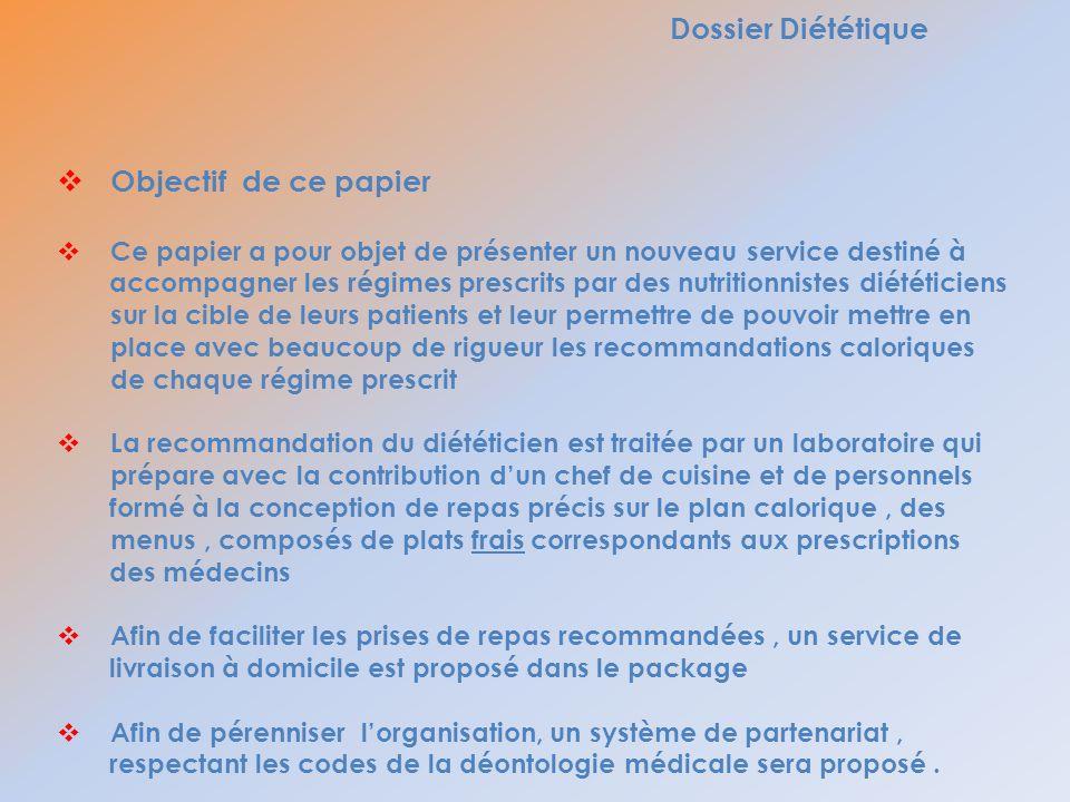 Dossier Diététique Objectif de ce papier Ce papier a pour objet de présenter un nouveau service destiné à accompagner les régimes prescrits par des nu