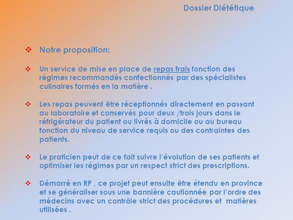Dossier Diététique Notre proposition: Un service de mise en place de repas frais fonction des régimes recommandés confectionnés par des spécialistes c