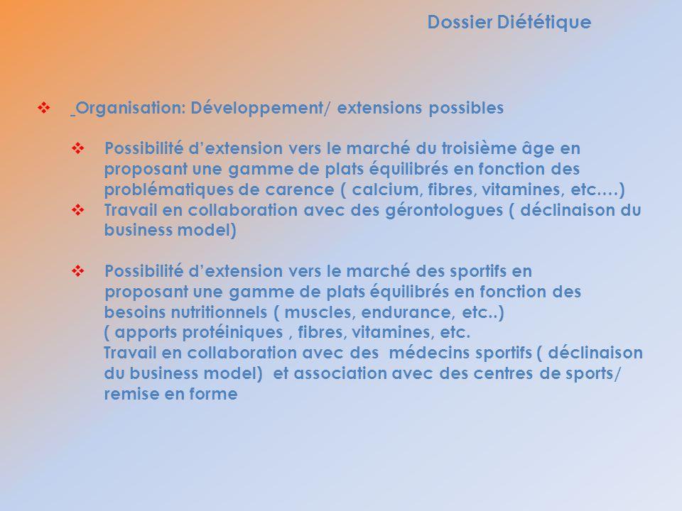 Dossier Diététique Organisation: Développement/ extensions possibles Possibilité dextension vers le marché du troisième âge en proposant une gamme de