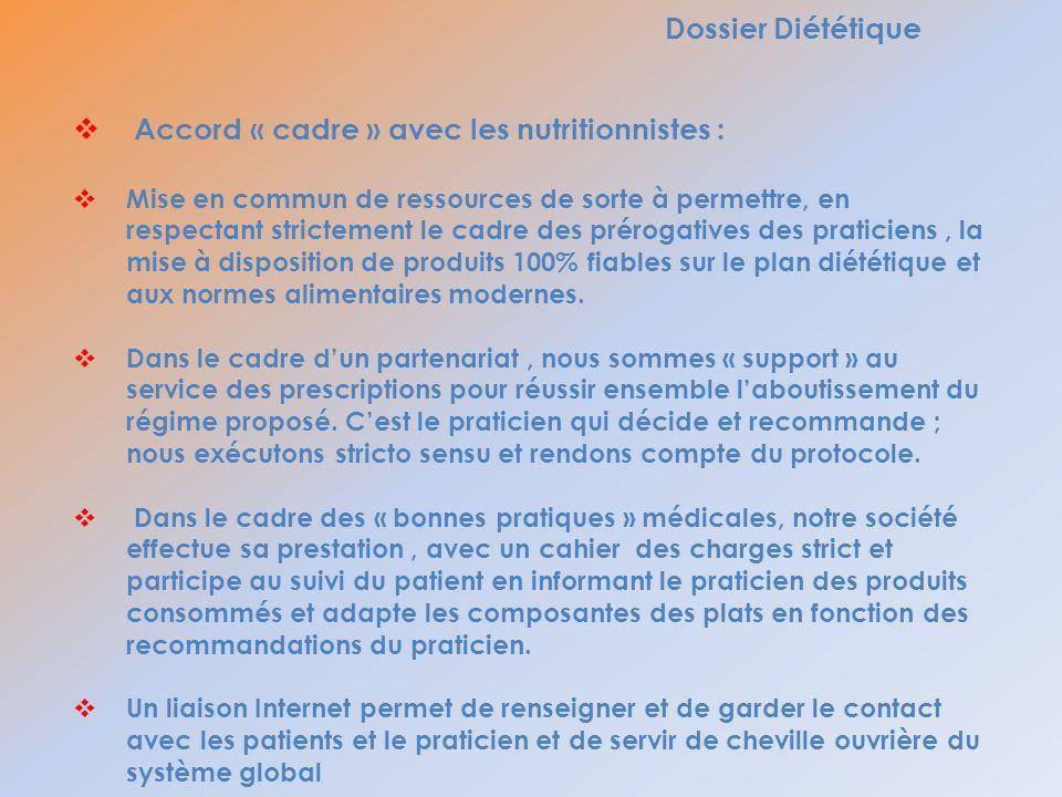 Dossier Diététique Accord « cadre » avec les nutritionnistes : Mise en commun de ressources de sorte à permettre, en respectant strictement le cadre d