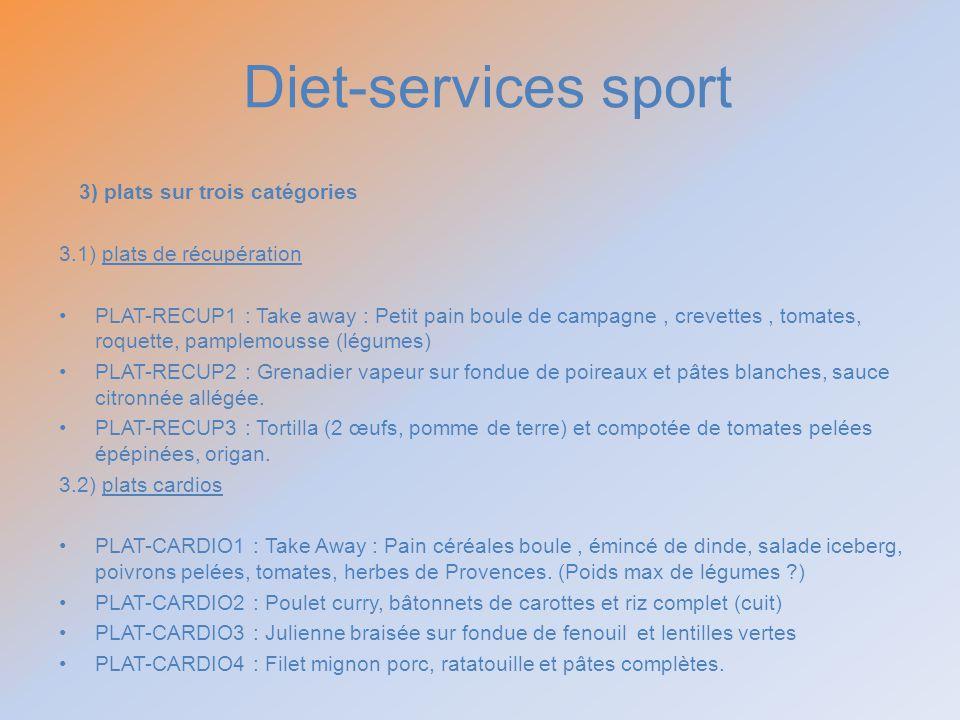 Diet-services sport 3) plats sur trois catégories 3.1) plats de récupération PLAT-RECUP1 : Take away : Petit pain boule de campagne, crevettes, tomate