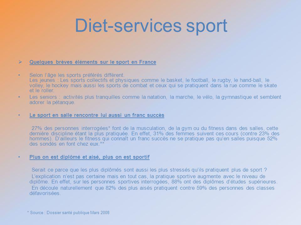Diet-services sport Quelques brèves éléments sur le sport en France Selon lâge les sports préférés diffèrent. Les jeunes : Les sports collectifs et ph