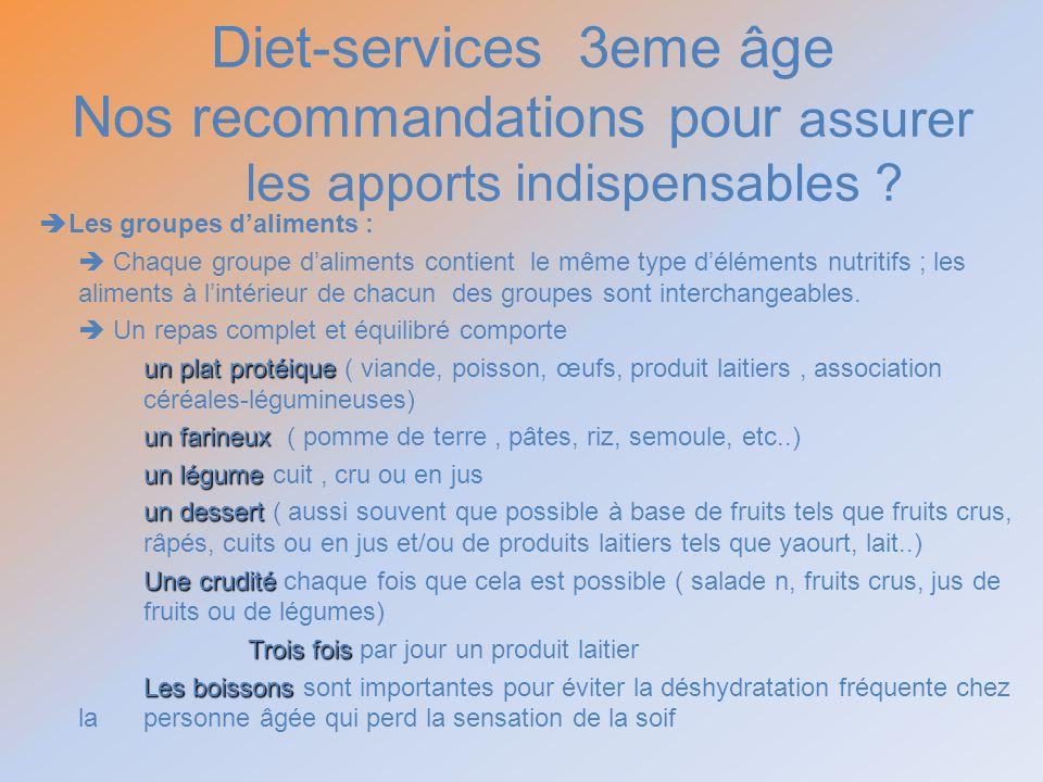 Diet-services 3eme âge Nos recommandations pour assurer les apports indispensables ? Les groupes daliments : Chaque groupe daliments contient le même