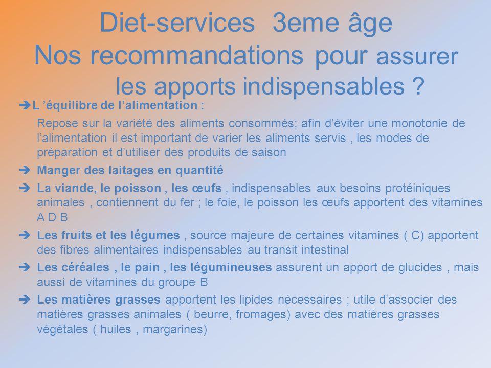 Diet-services 3eme âge Nos recommandations pour assurer les apports indispensables ? L équilibre de lalimentation : Repose sur la variété des aliments