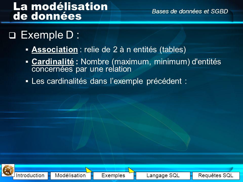 IntroductionModélisationExemplesLangage SQLRequêtes SQL Bases de données et SGBD La modélisation de données Exemple C : Il y a 5 voitures dans le gara