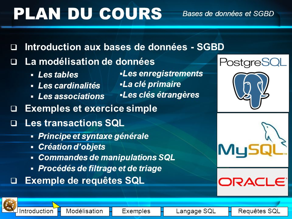 IntroductionModélisationExemplesLangage SQLRequêtes SQL Bases de données et SGBD Les exemples Exemple A : les tables Exemple B : les enregistrements Exemple C : les clés étrangères Exemple D : les cardinalités Exemple E : lassociation Exercice1 (Corrigé) Exercice1(Corrigé) Exercice2 (Corrigé) Exercice2(Corrigé)