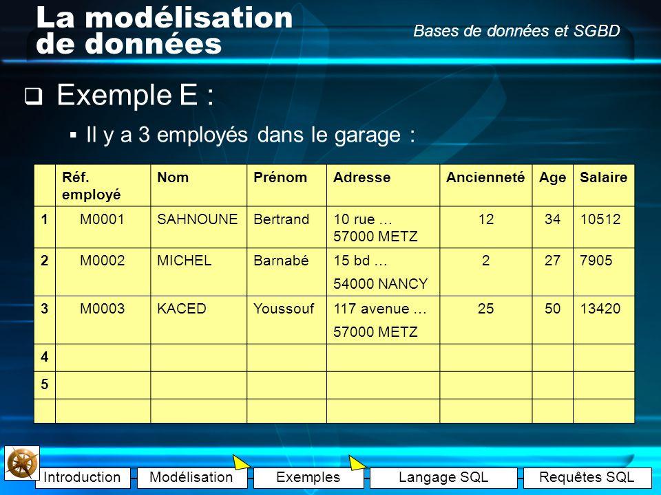 IntroductionModélisationExemplesLangage SQLRequêtes SQL Bases de données et SGBD La modélisation de données Exemple E : Ajoutons une entité « Mécano »