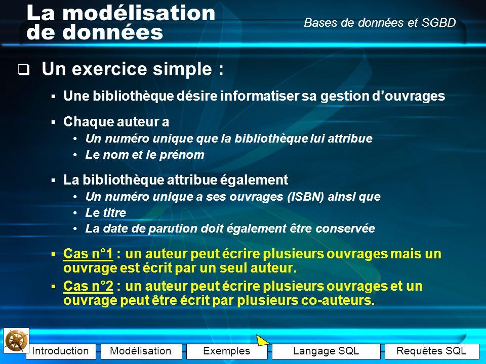 IntroductionModélisationExemplesLangage SQLRequêtes SQL Bases de données et SGBD La modélisation de données Exemple E : Cette 3ème table fera le lien