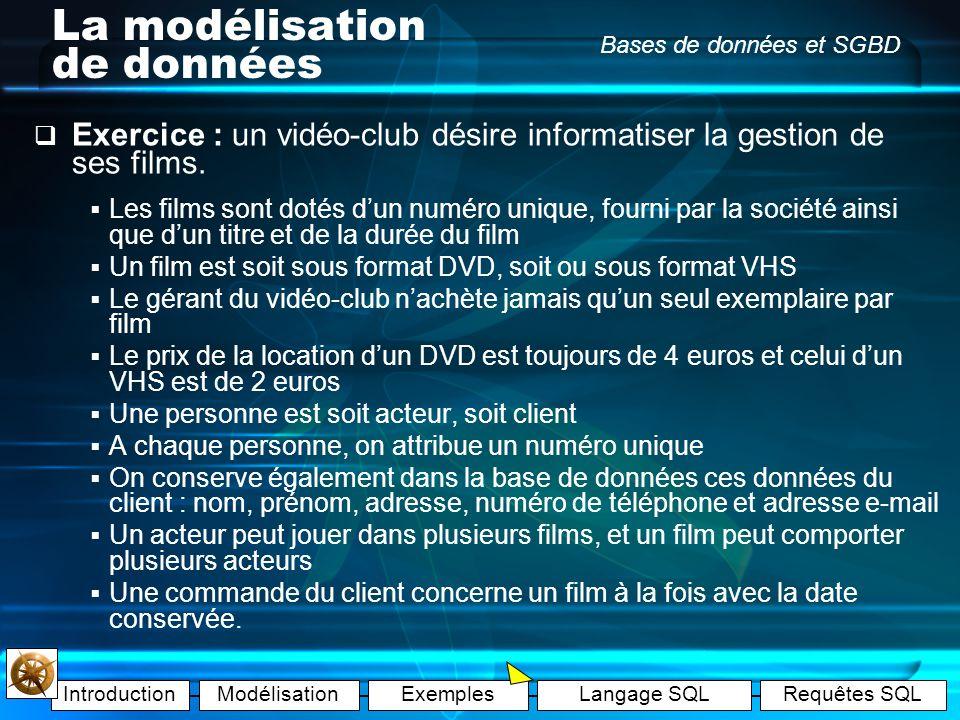 IntroductionModélisationExemplesLangage SQLRequêtes SQL Bases de données et SGBD La modélisation de données Correction : (schéma relationnel) CAS N°2