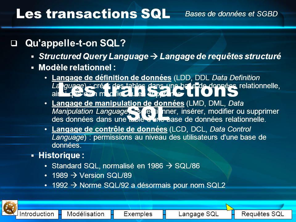 IntroductionModélisationExemplesLangage SQLRequêtes SQL Bases de données et SGBD Les exemples Exemple A : les tables Exemple B : les enregistrements E