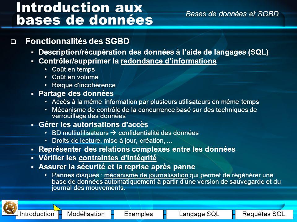 IntroductionModélisationExemplesLangage SQLRequêtes SQL Bases de données et SGBD Introduction aux bases de données Fonctionnalités des SGBD Description/récupération des données à laide de langages (SQL) Contrôler/supprimer la redondance d informations Coût en temps Coût en volume Risque d incohérence Partage des données Accès à la même information par plusieurs utilisateurs en même temps Mécanisme de contrôle de la concurrence basé sur des techniques de verrouillage des données Gérer les autorisations d accès BD multiutilisateurs confidentialité des données Droits de lecture, mise à jour, création,...