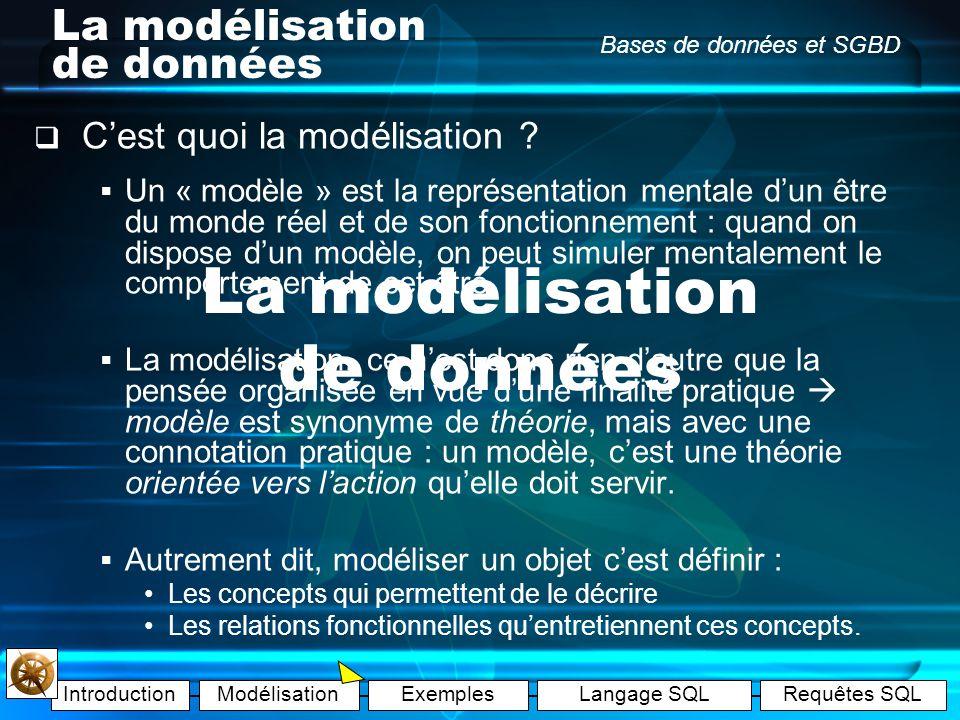 IntroductionModélisationExemplesLangage SQLRequêtes SQL Bases de données et SGBD La modélisation de données Cest quoi la modélisation .