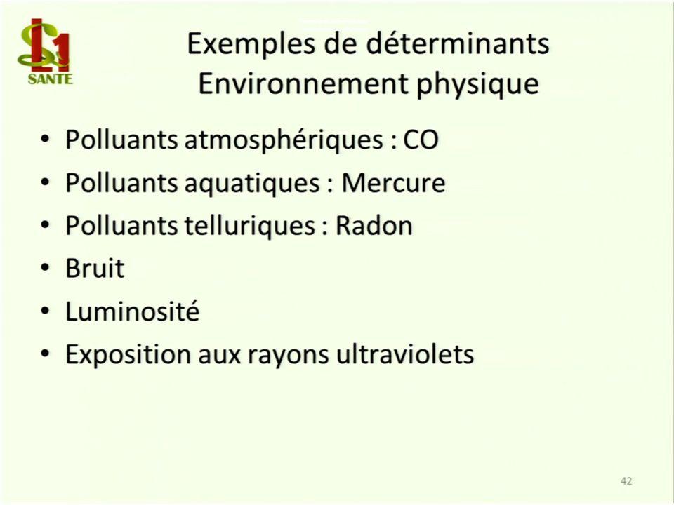 Exemple de déterminants Environnement physique
