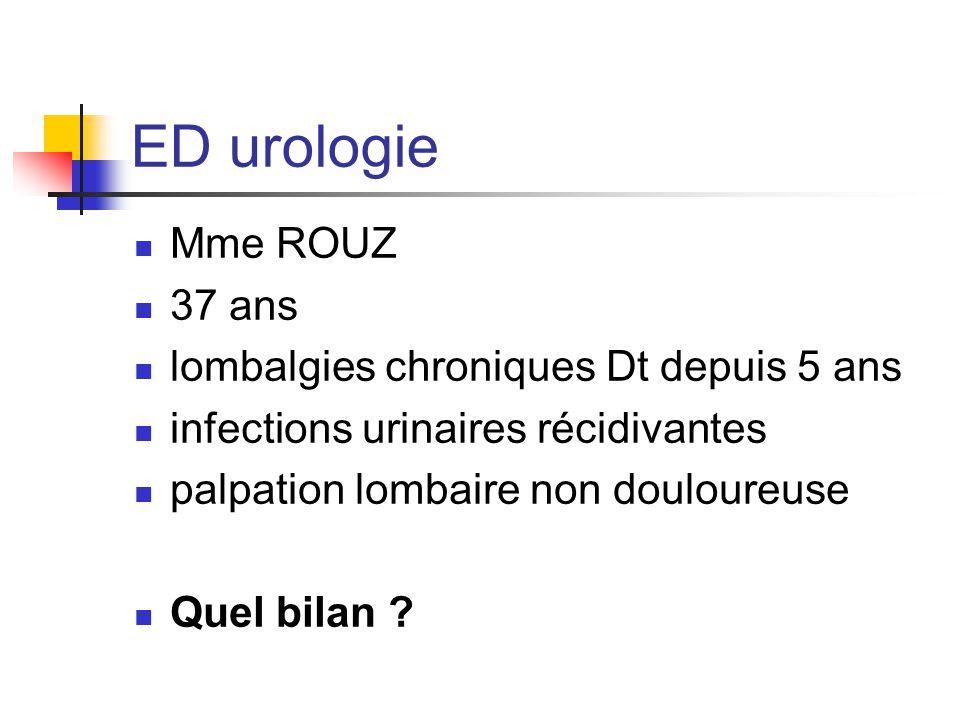 ED urologie Mme ROUZ 37 ans lombalgies chroniques Dt depuis 5 ans infections urinaires récidivantes palpation lombaire non douloureuse Quel bilan ?