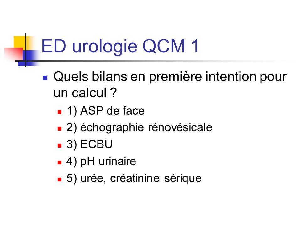 ED urologie QCM 1 Réponses: ASP: calcul radio-opaque Echographie RV: recherche dilatation pyélocalicielle ECBU: germes lithogenes pH urinaire: acidité urinaire urée, créatinine : insuffisance rénale