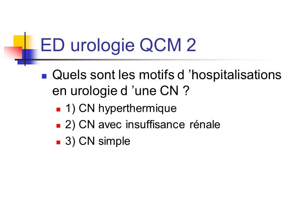 ED urologie QCM 2 Quels sont les motifs d hospitalisations en urologie d une CN ? 1) CN hyperthermique 2) CN avec insuffisance rénale 3) CN simple