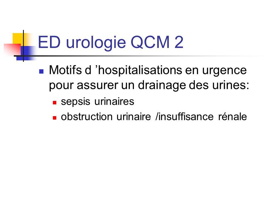 ED urologie QCM 2 Motifs d hospitalisations en urgence pour assurer un drainage des urines: sepsis urinaires obstruction urinaire /insuffisance rénale