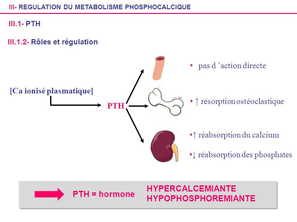 PTH pas d action directe résorption ostéoclastique réabsorption du calcium réabsorption des phosphates [Ca ionisé plasmatique] III.1.2- Rôles et régul