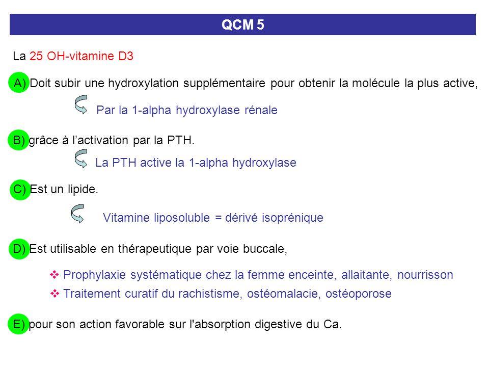 QCM 5 La 25 OH-vitamine D3 B) grâce à lactivation par la PTH. A) Doit subir une hydroxylation supplémentaire pour obtenir la molécule la plus active,
