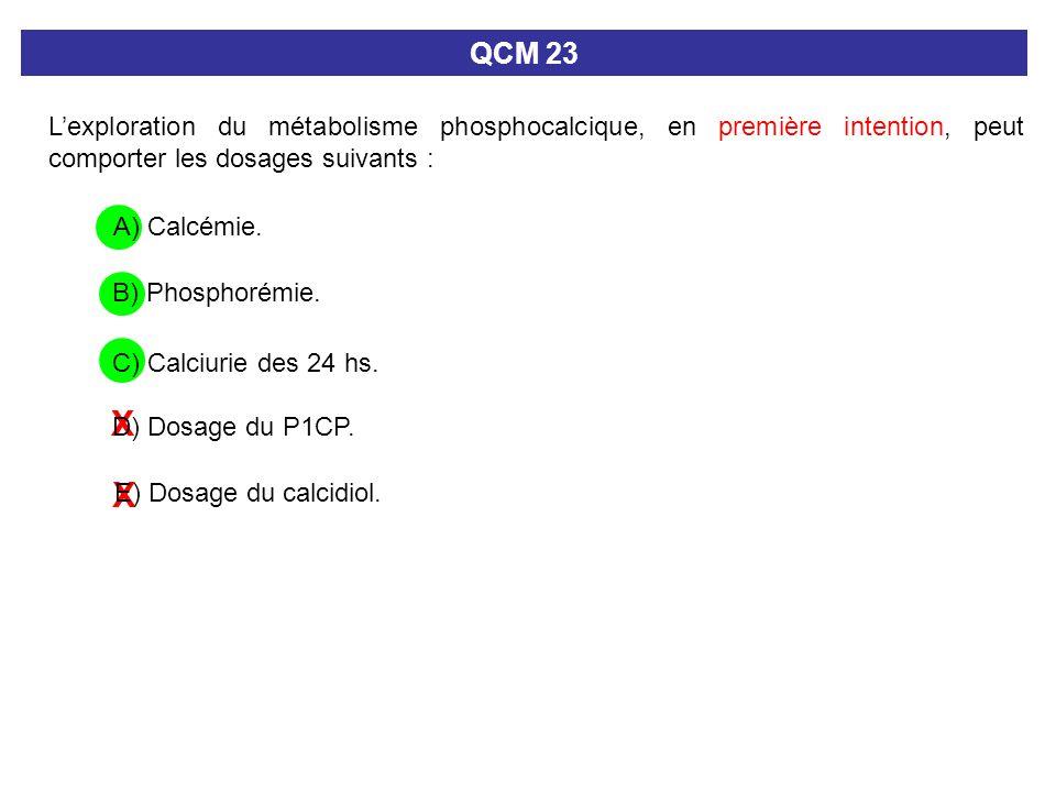 X X Lexploration du métabolisme phosphocalcique, en première intention, peut comporter les dosages suivants : QCM 23 E) Dosage du calcidiol. A) Calcém