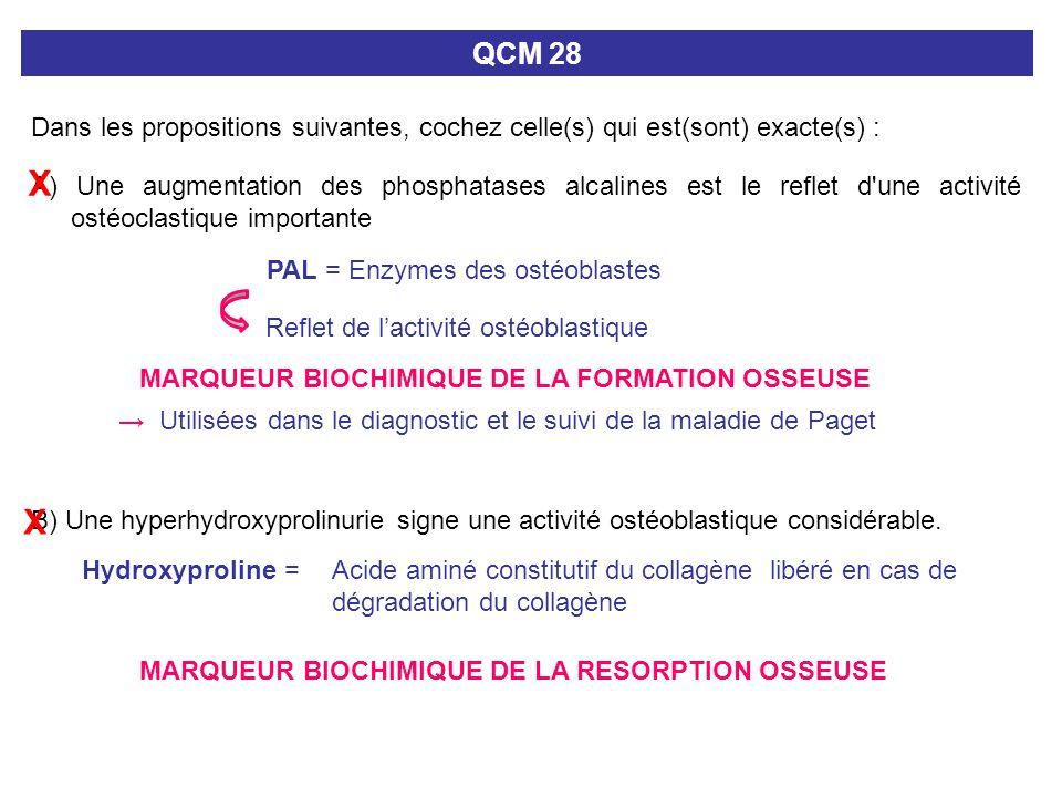 QCM 28 Dans les propositions suivantes, cochez celle(s) qui est(sont) exacte(s) : A) Une augmentation des phosphatases alcalines est le reflet d'une a