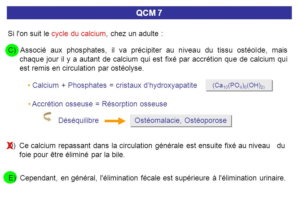 I- METABOLISME DU CALCIUM I.1- Répartition et cycle du calcium (sur 24h) Alimentation 25 mmol selles 19 mmol Pool échangeable 25 mmol PLASMAPLASMA LIQUIDES EXTRACELLULAIRES Calcium osseux 25 moles (1 kg) hydroxyapatite Urines 0,1 mmol/kg/24h 10 mmol 4 mmol 8 mmol Accrétion /Ostéoblastes Résorption /Ostéoclastes Ostéomalacie/rachitisme Ostéoporose 99% Calcium ultrafiltrable