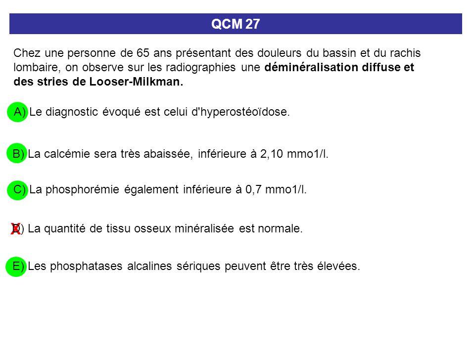 X A) Le diagnostic évoqué est celui d'hyperostéoïdose. QCM 27 Chez une personne de 65 ans présentant des douleurs du bassin et du rachis lombaire, on