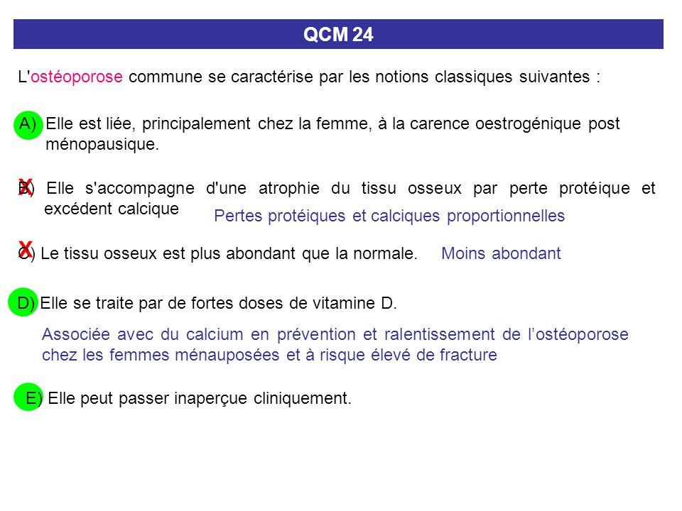 X X C) Le tissu osseux est plus abondant que la normale. QCM 24 L'ostéoporose commune se caractérise par les notions classiques suivantes : A) Elle es