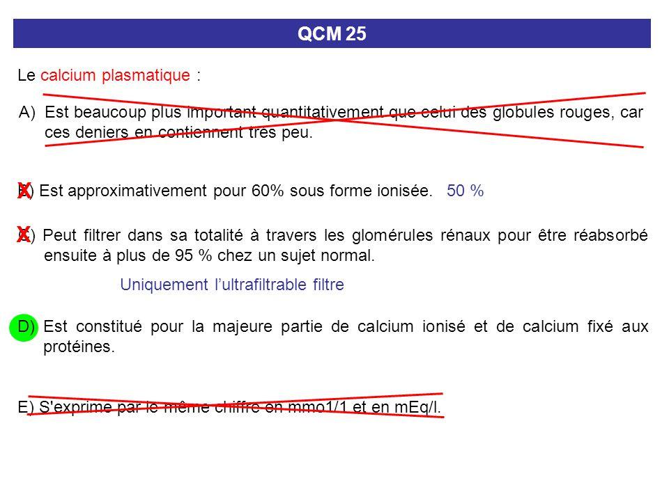 A) Est beaucoup plus important quantitativement que celui des globules rouges, car ces deniers en contiennent très peu. QCM 25 Le calcium plasmatique