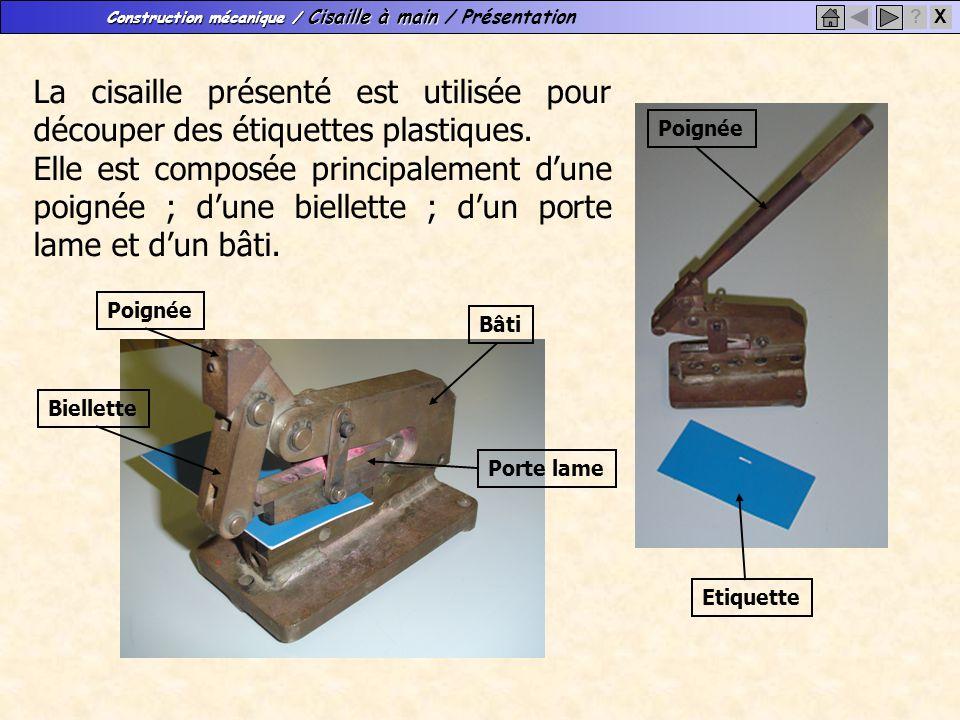 Construction mécanique / Cisaille à main Construction mécanique / Cisaille à main / Présentation X? La cisaille présenté est utilisée pour découper de