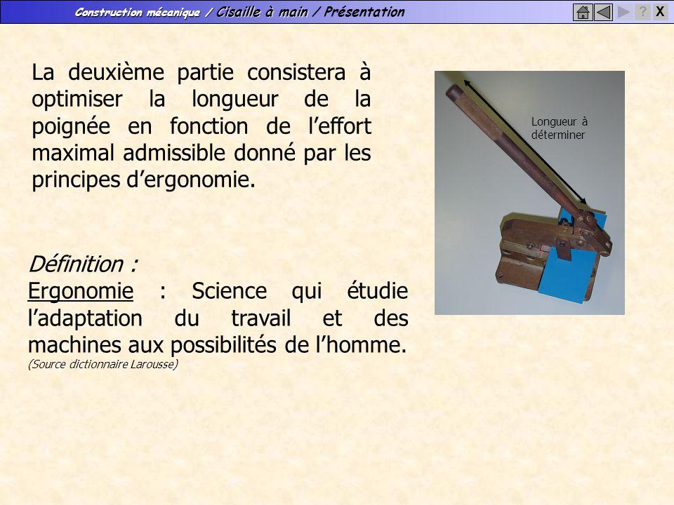 Construction mécanique / Cisaille à main Construction mécanique / Cisaille à main / Présentation X? La deuxième partie consistera à optimiser la longu